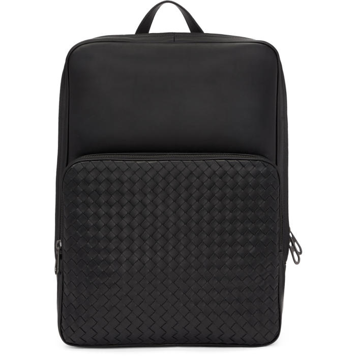 Bottega Veneta Black Intrecciato Pocket Backpack