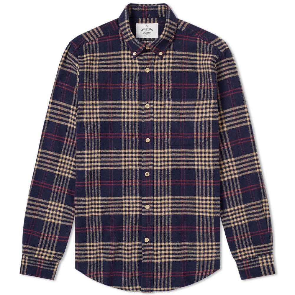 Photo: Portuguese Flannel Tomar Button Down Check Shirt Blue