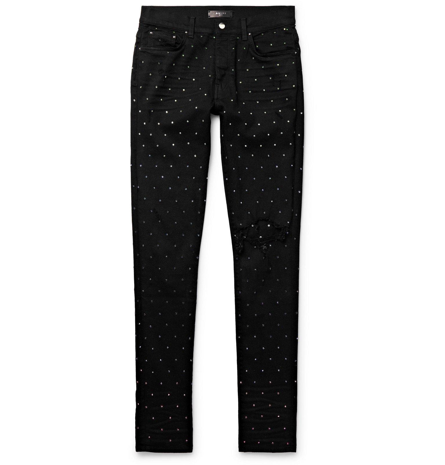 Photo: AMIRI - Skinny-Fit Crystal-Embellished Distressed Denim Jeans - Black
