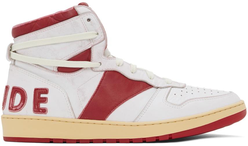 Photo: Rhude White & Red Rhecess Hi Sneakers
