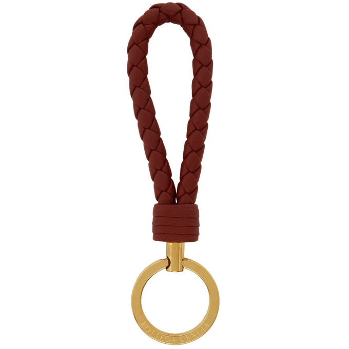 Photo: Bottega Veneta Brown Intrecciato Loop Keychain