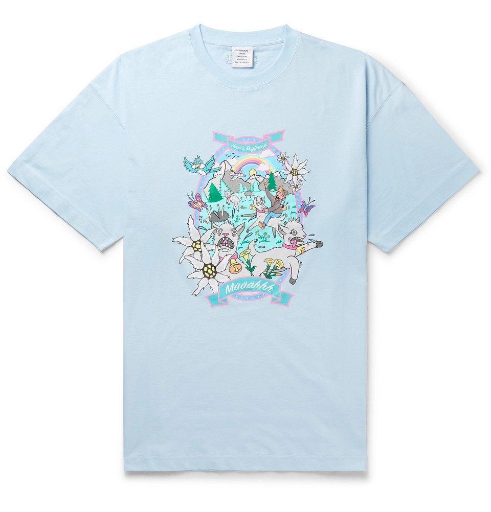Photo: Vetements - Oversized Printed Cotton-Jersey T-Shirt - Blue