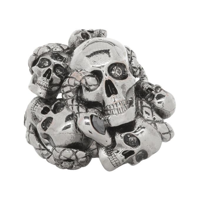 Photo: Alexander McQueen Gunmetal Multi Skull and Snake Ring