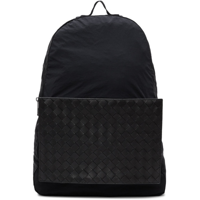 Photo: Bottega Veneta Black Intrecciato Packable Backpack