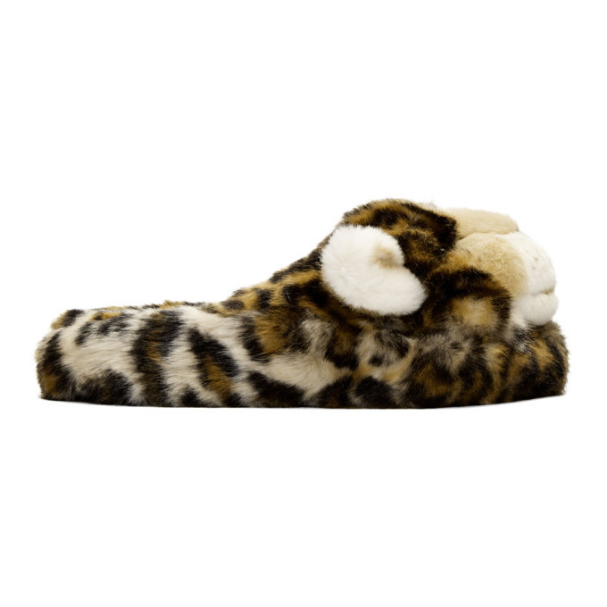 Photo: Dolce and Gabbana Brown Faux-Fur Leopard Slippers