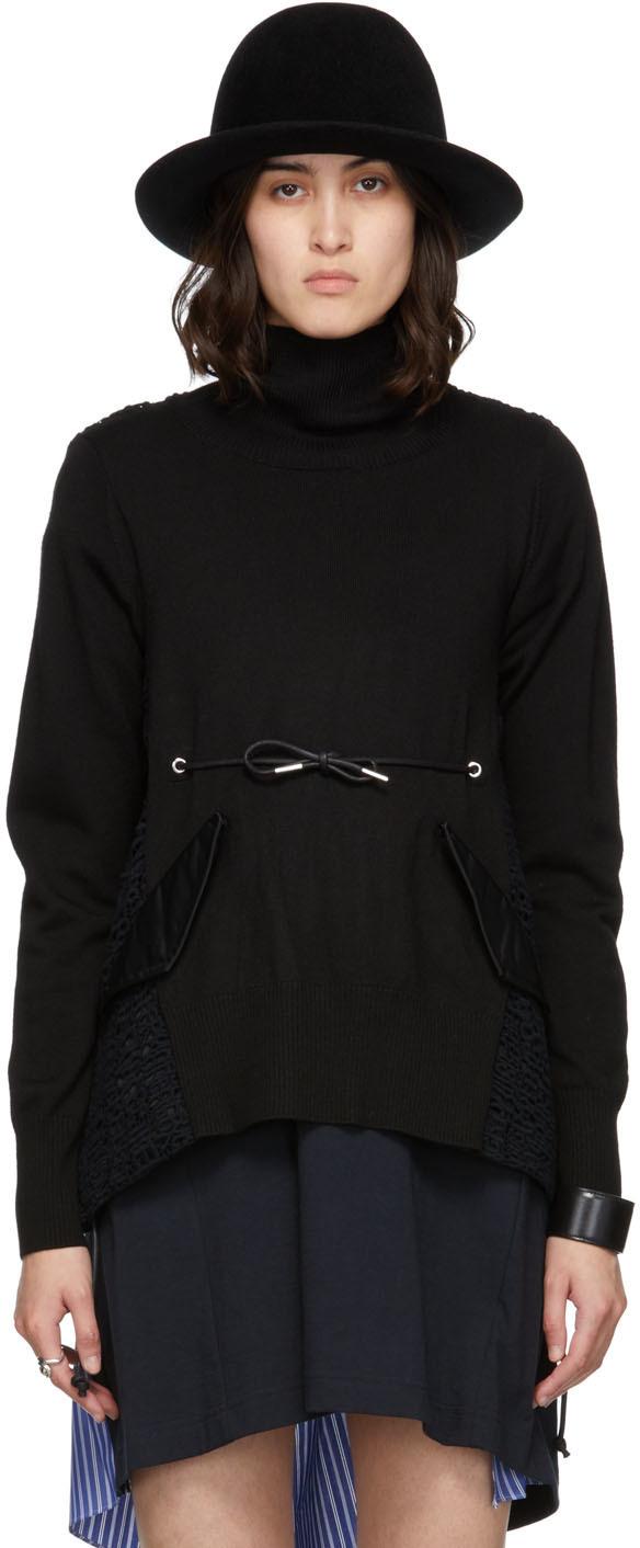 Sacai Black Embroidered Lace Turtleneck