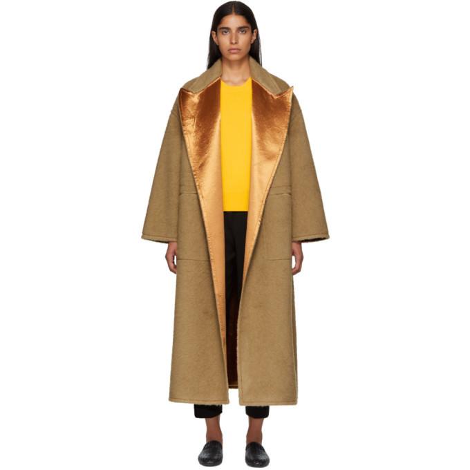 Photo: Bottega Veneta Beige Camel Hair Oversized Coat