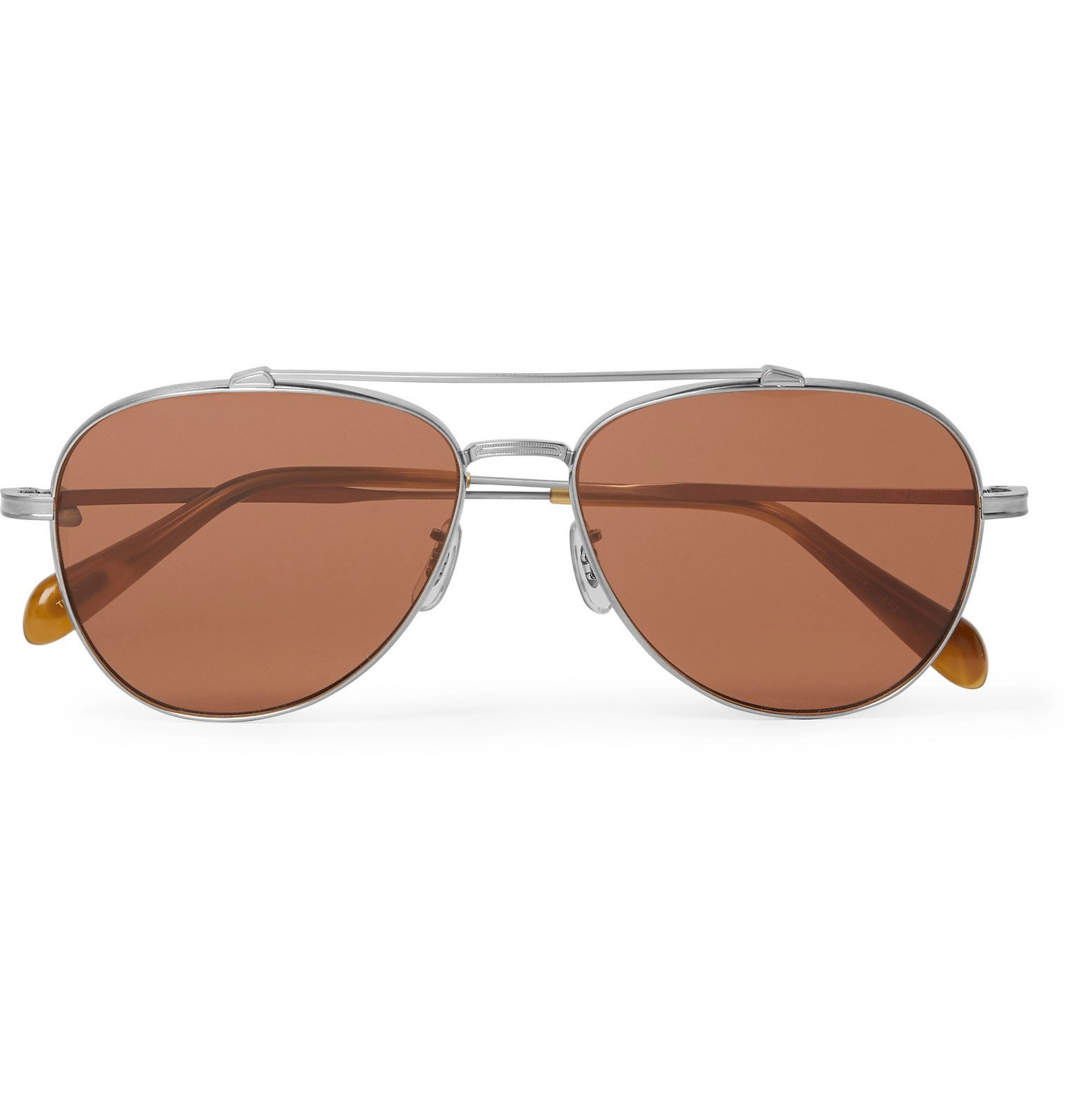 Oliver Peoples - Rikson Aviator-Style Silver-Tone Titanium and Tortoiseshell Acetate Sunglasses - Silver