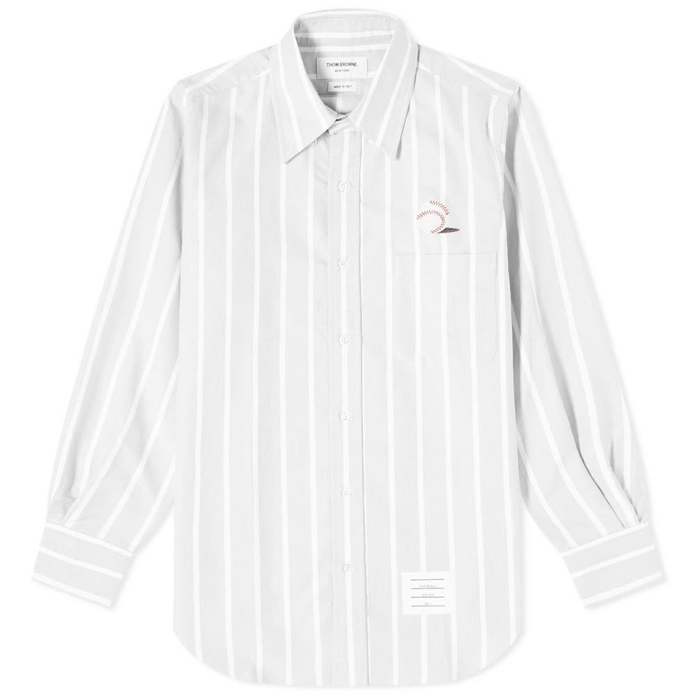 Photo: Thom Browne Baseball Icon Button Down Stripe Oxford Shirt