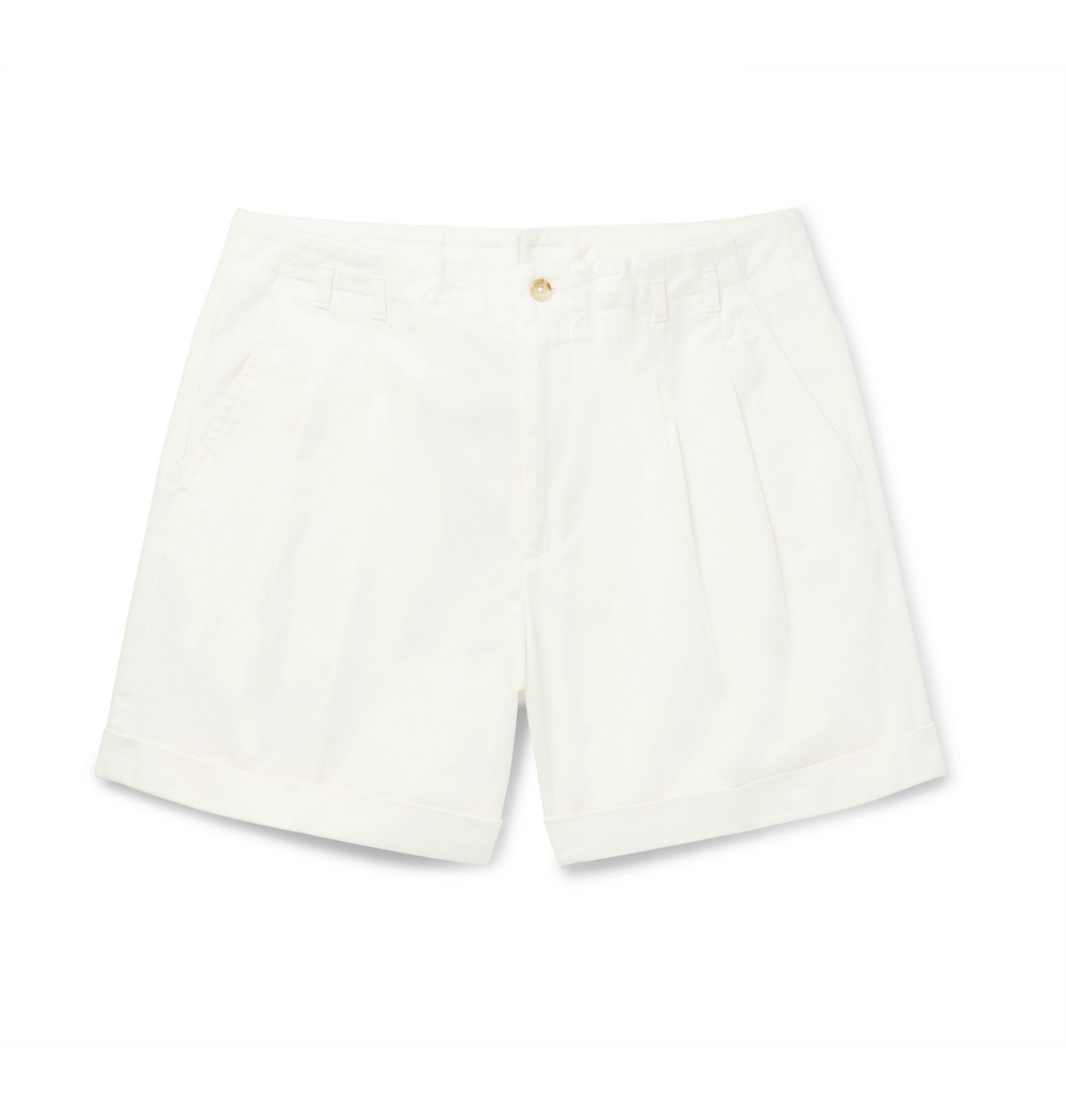 Photo: Dolce & Gabbana - Pleated Cotton-Blend Drill Shorts - White