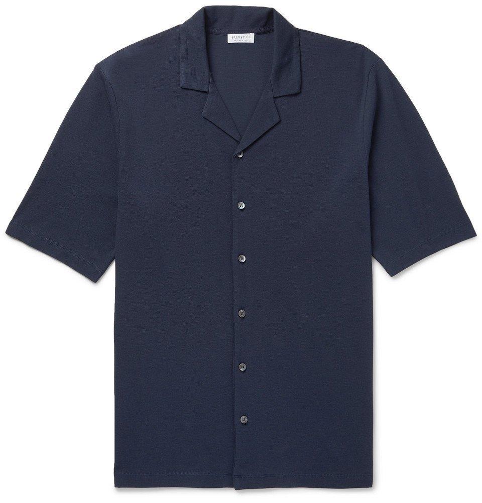 Sunspel - Camp-Collar Cotton-Piqué Shirt - Navy