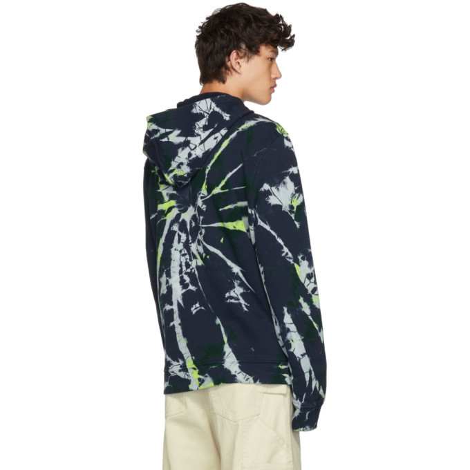 The Elder Statesman Navy Swirl Dye Fleece Hoodie