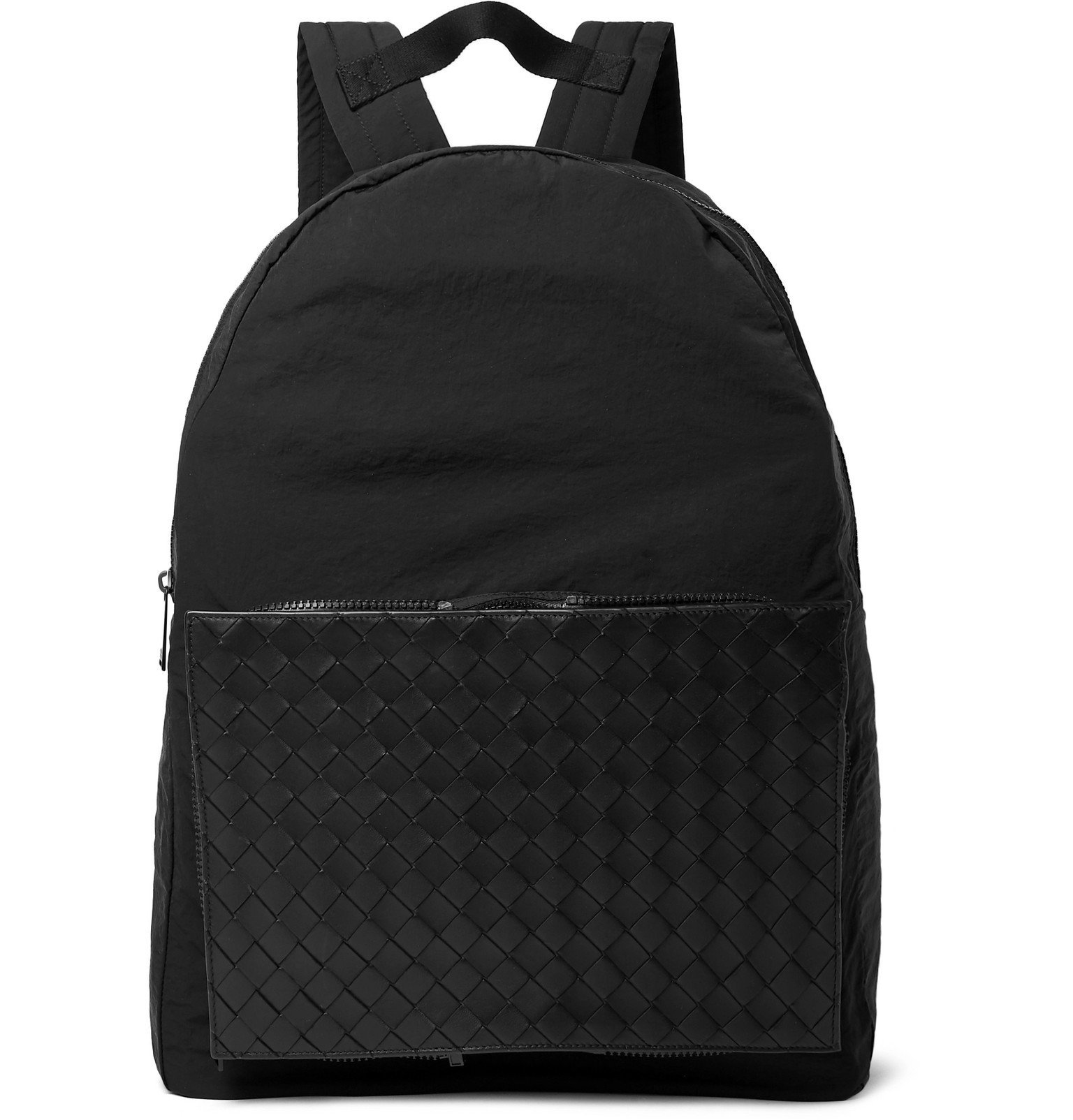 Photo: Bottega Veneta - Nylon and Intrecciato Leather Backpack - Black