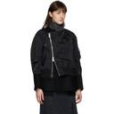 Sacai Black Wool Asymmetric Bomber Jacket