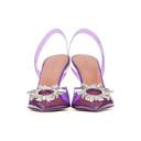 Amina Muaddi Purple Begum Glass Slingback Heels