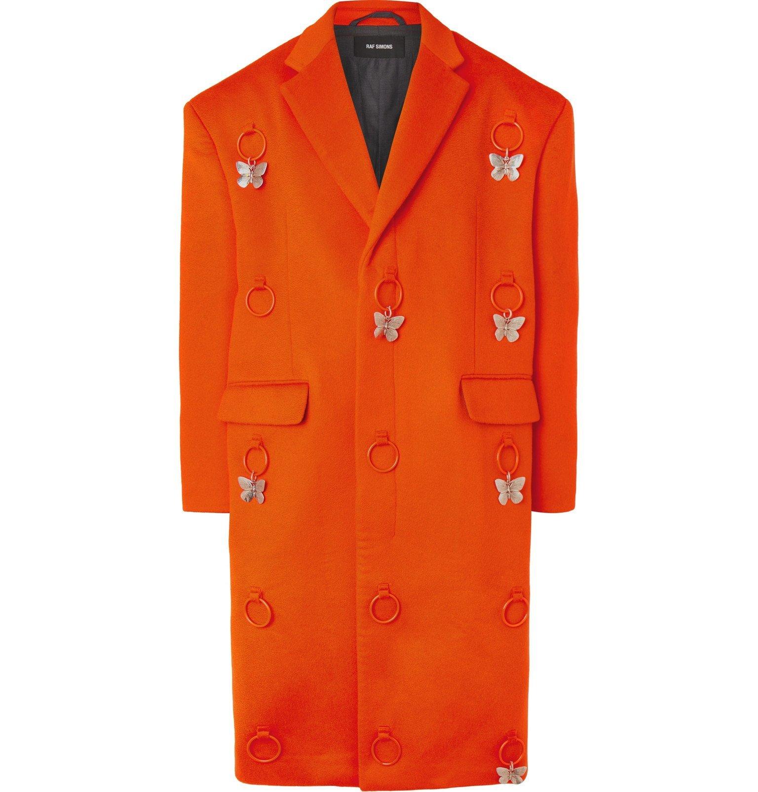 Raf Simons - Embellished Virgin Wool and Cashmere-Blend Overcoat - Orange