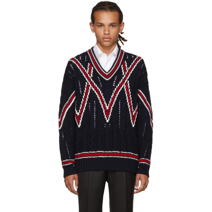 Brioni Navy Cable Knit V Neck Sweater Brioni