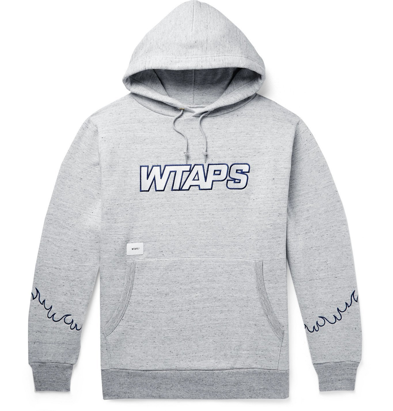 Photo: WTAPS - Drifters Embroidered Mélange Fleece-Back Cotton-Blend Jersey Hoodie - Gray