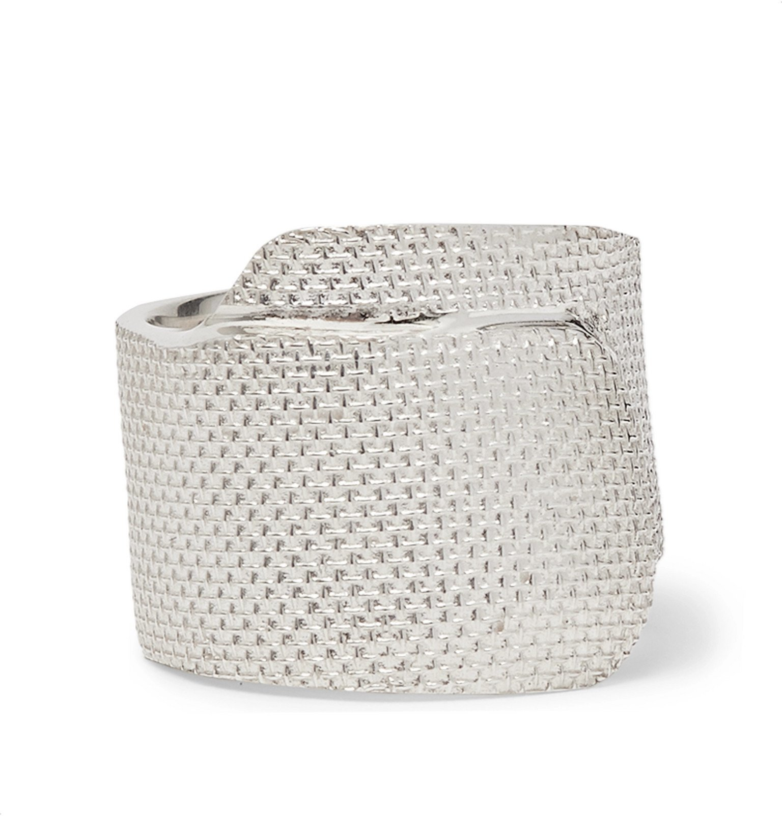 Photo: AMBUSH® - Tape Engraved Sterling Silver Ring - Silver