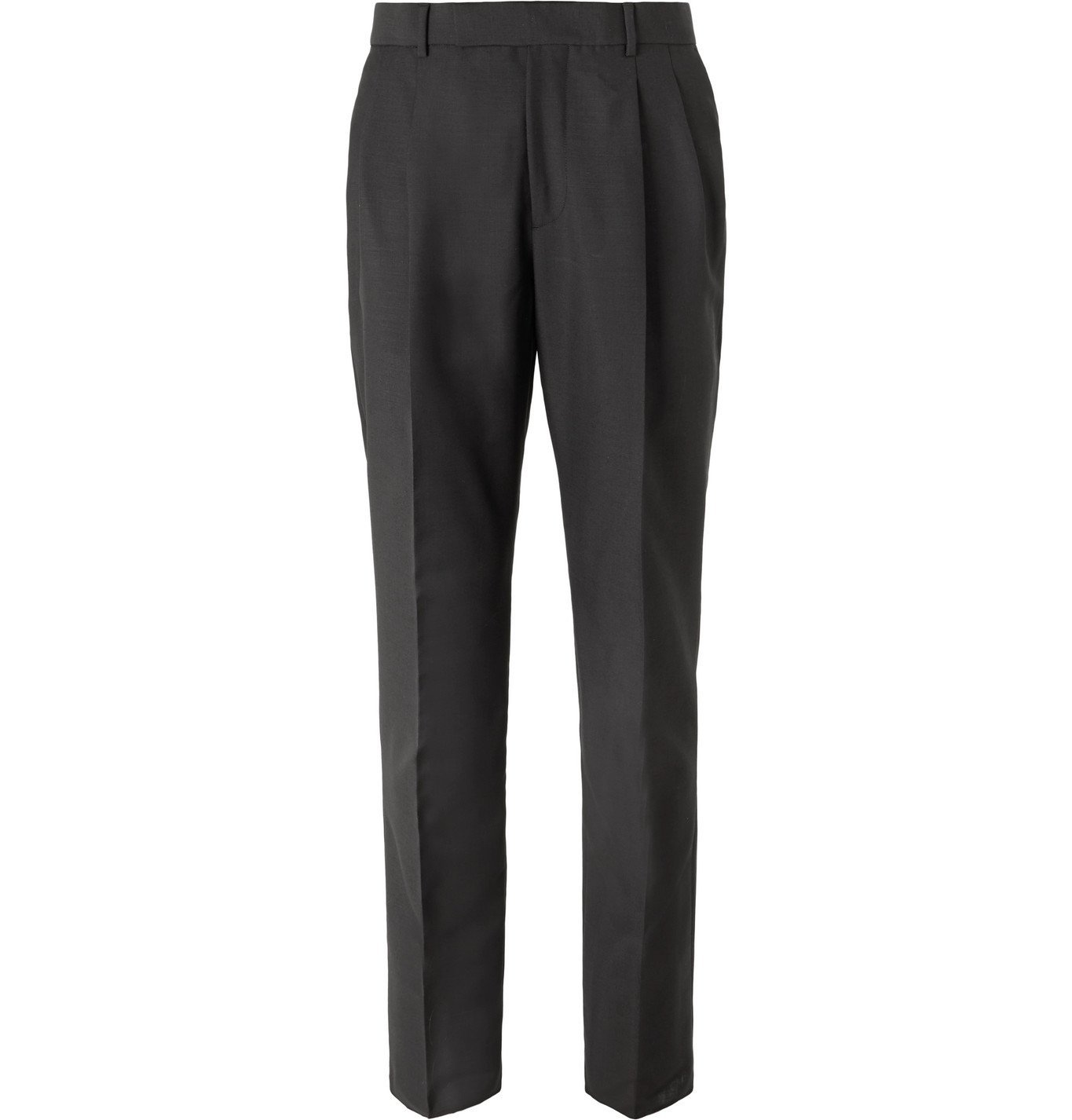 Photo: Alexander McQueen - Black Slim-Fit Pleated Wool and Mohair-Blend Trousers - Black
