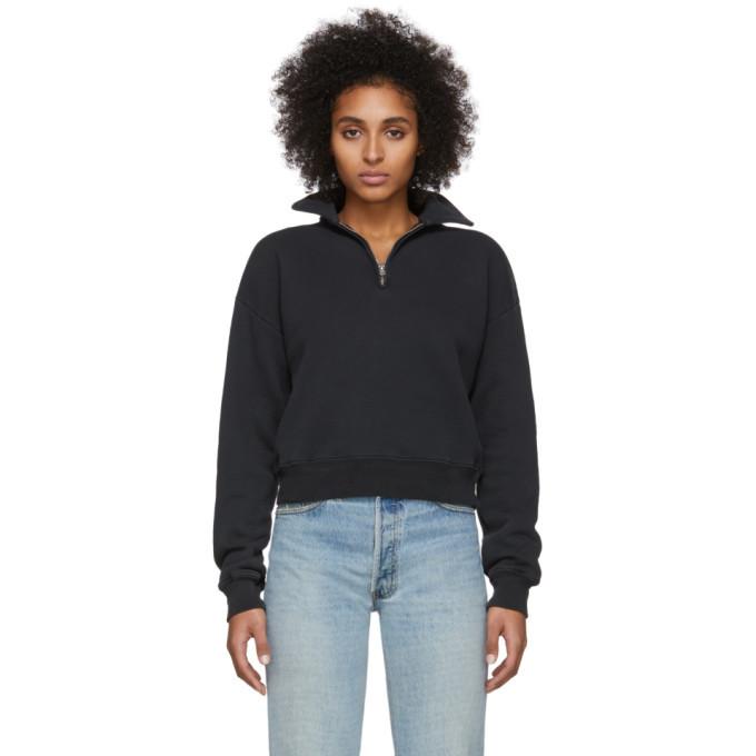 Photo: Re/Done Black 70s Half-Zip Sweatshirt