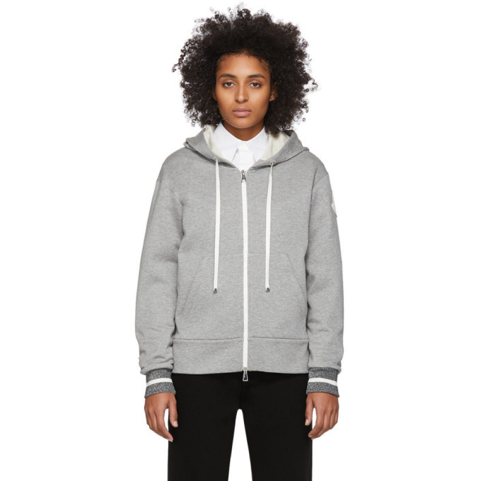 Photo: Moncler Grey Logo Patch Zip Hoodie