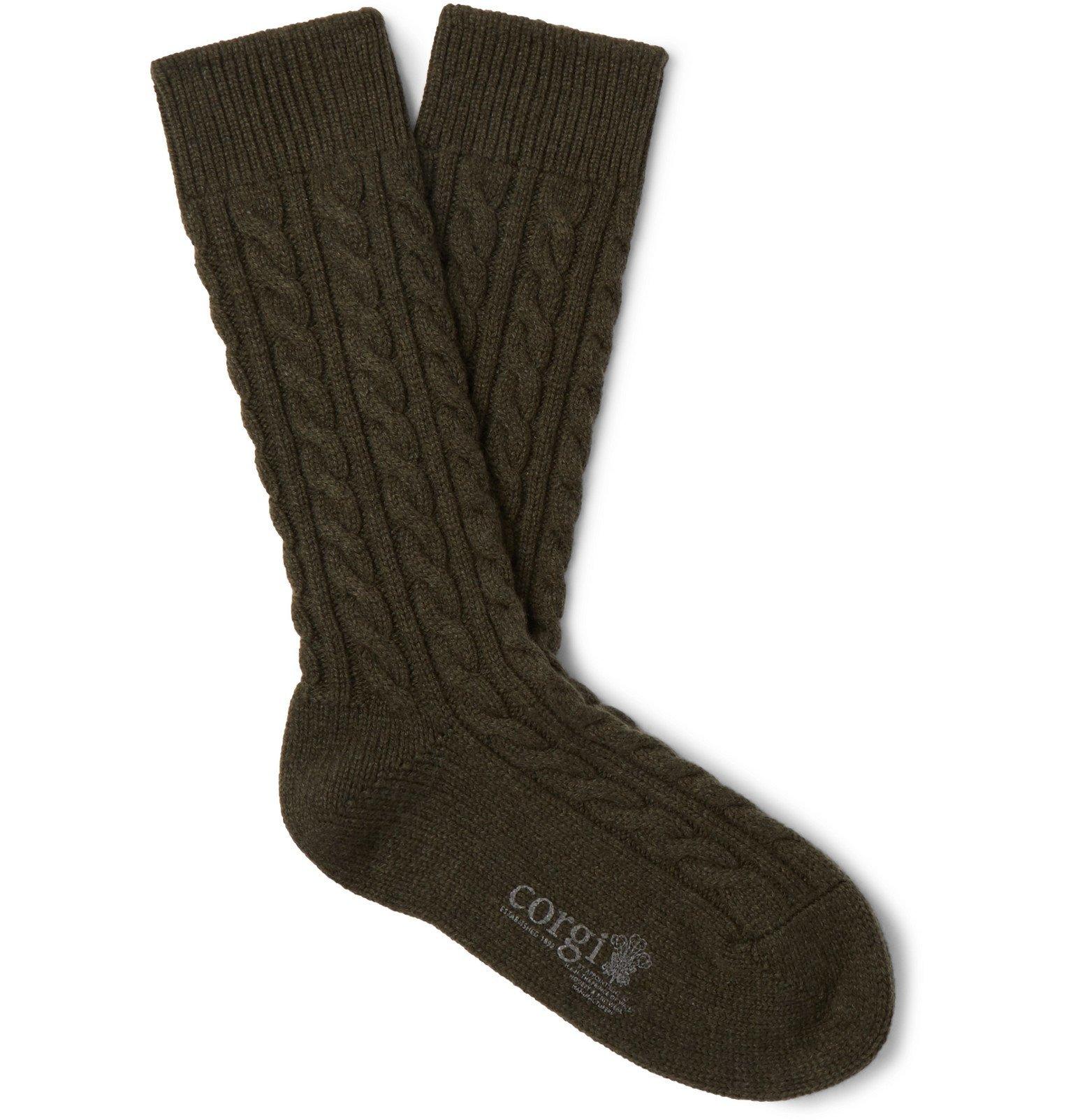Photo: Kingsman - Cable-Knit Cashmere Socks - Green