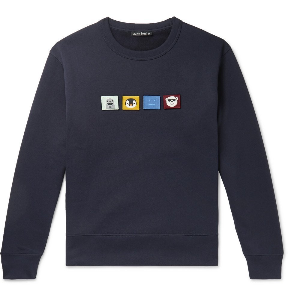 Photo: Acne Studios - Appliquéd Fleece-Back Cotton-Jersey Sweatshirt - Navy
