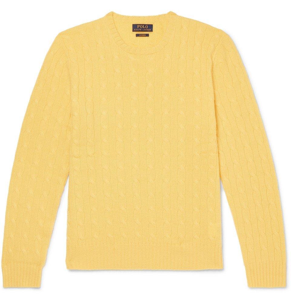 Polo Ralph Lauren Slim Fit Cable Knit Cashmere Sweater Men Yellow Polo Ralph Lauren