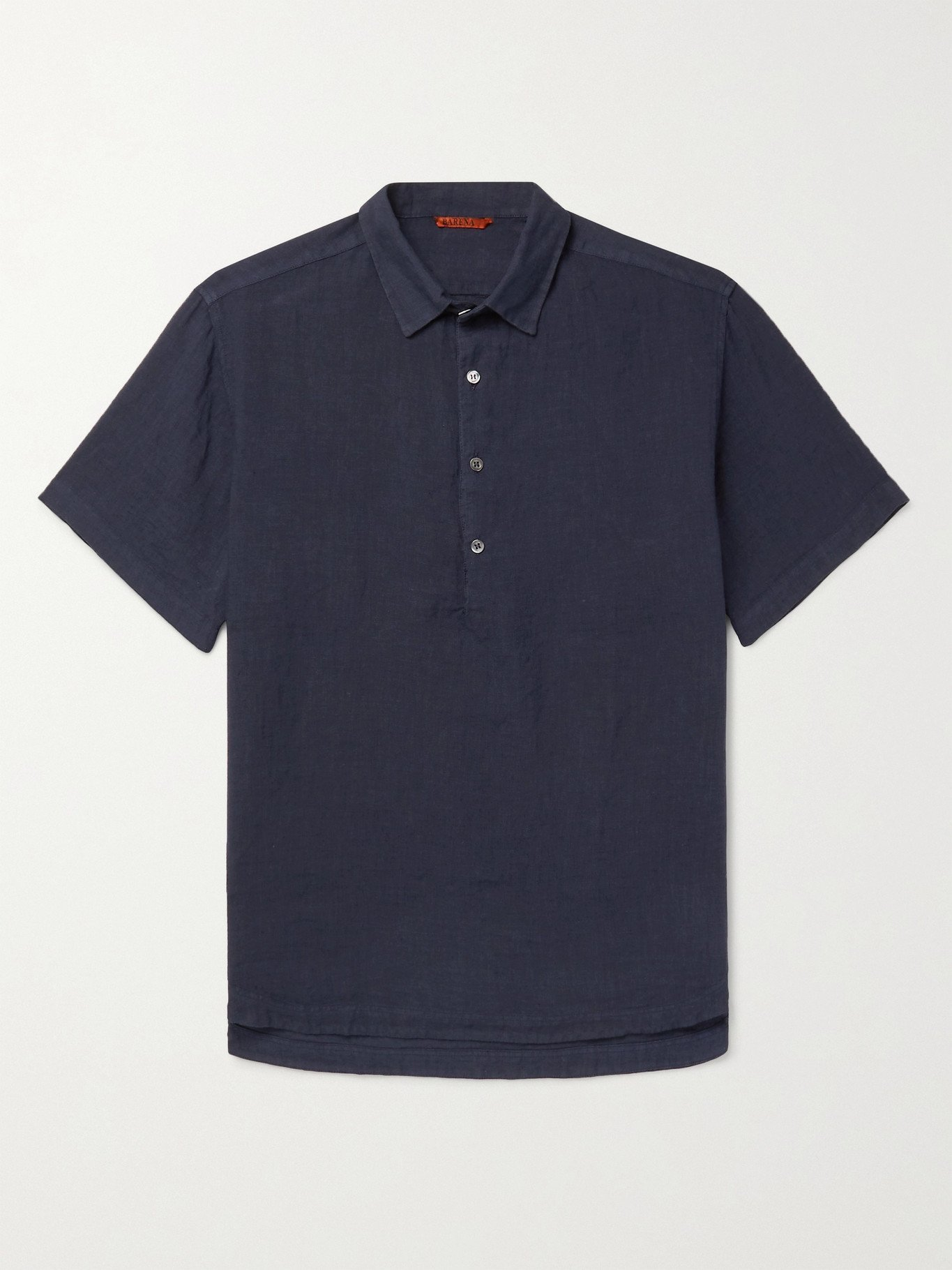 Photo: BARENA - Garment-Dyed Linen Polo Shirt - Blue