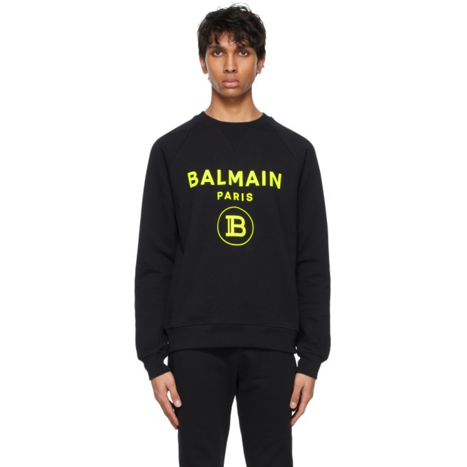 Photo: Balmain Black Flocked Logo Sweatshirt