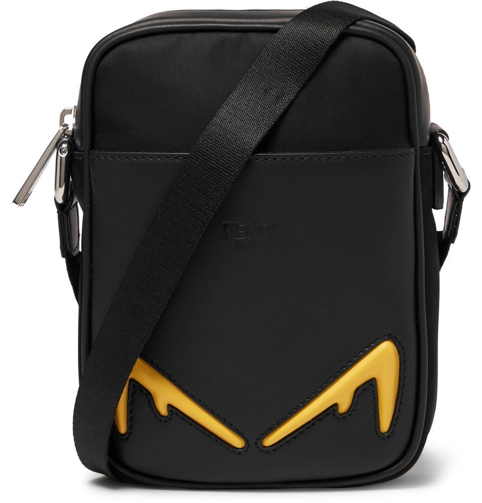 Photo: Fendi - Appliquéd Nylon and Leather Messenger Bag - Black