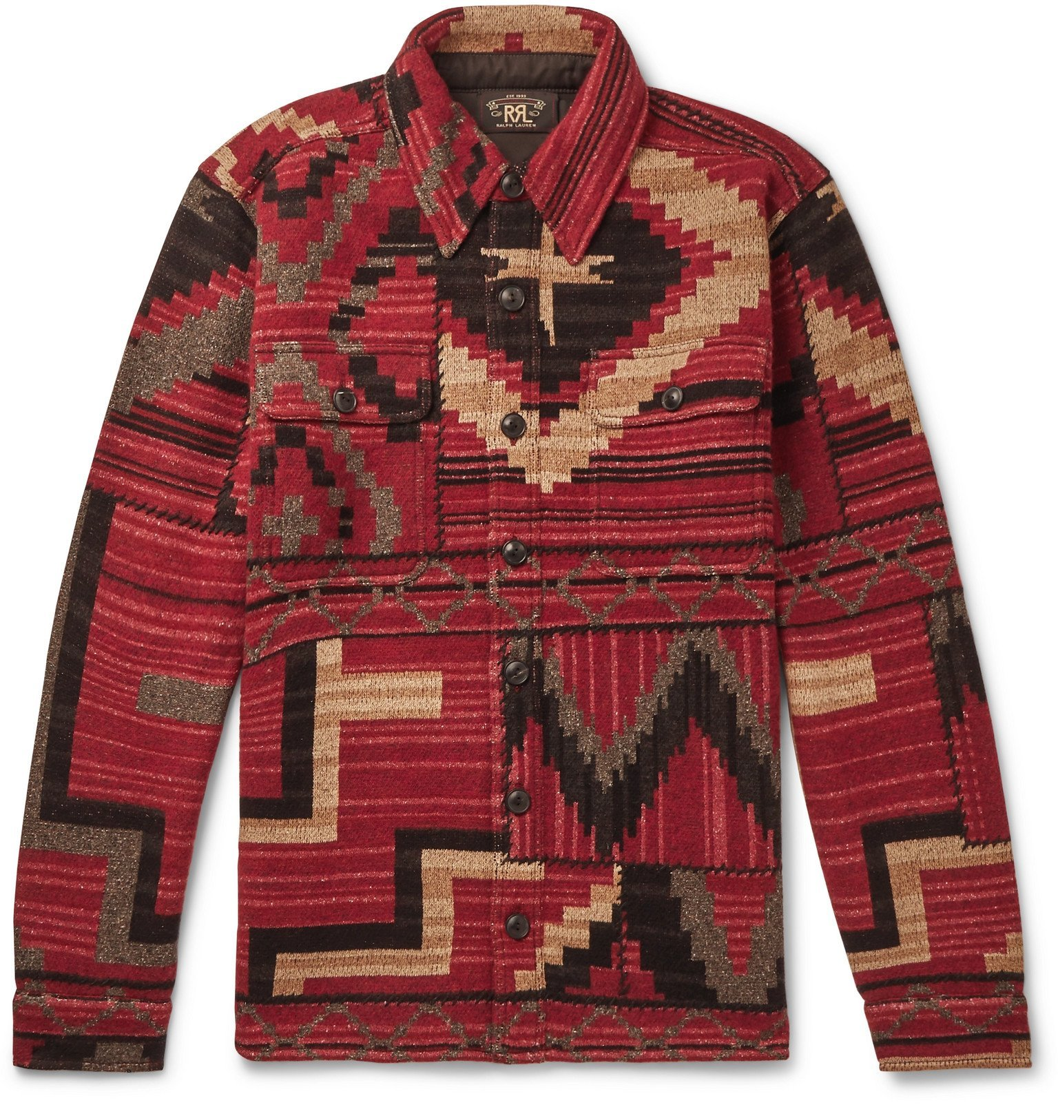 RRL - Wool, Silk and Cashmere-Blend Jacquard Overshirt - Red