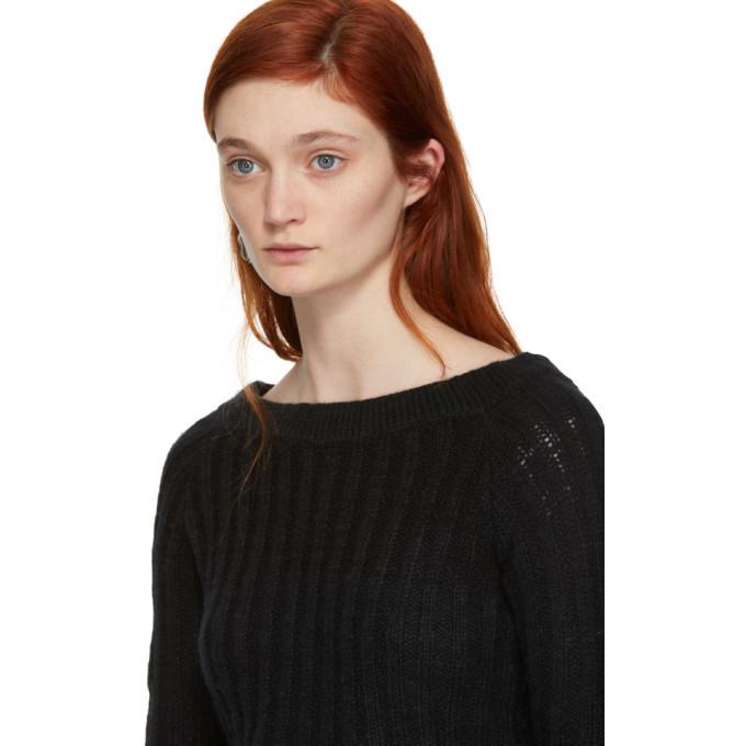The Elder Statesman Black Cashmere Cropped Off-the-Shoulder Pullover