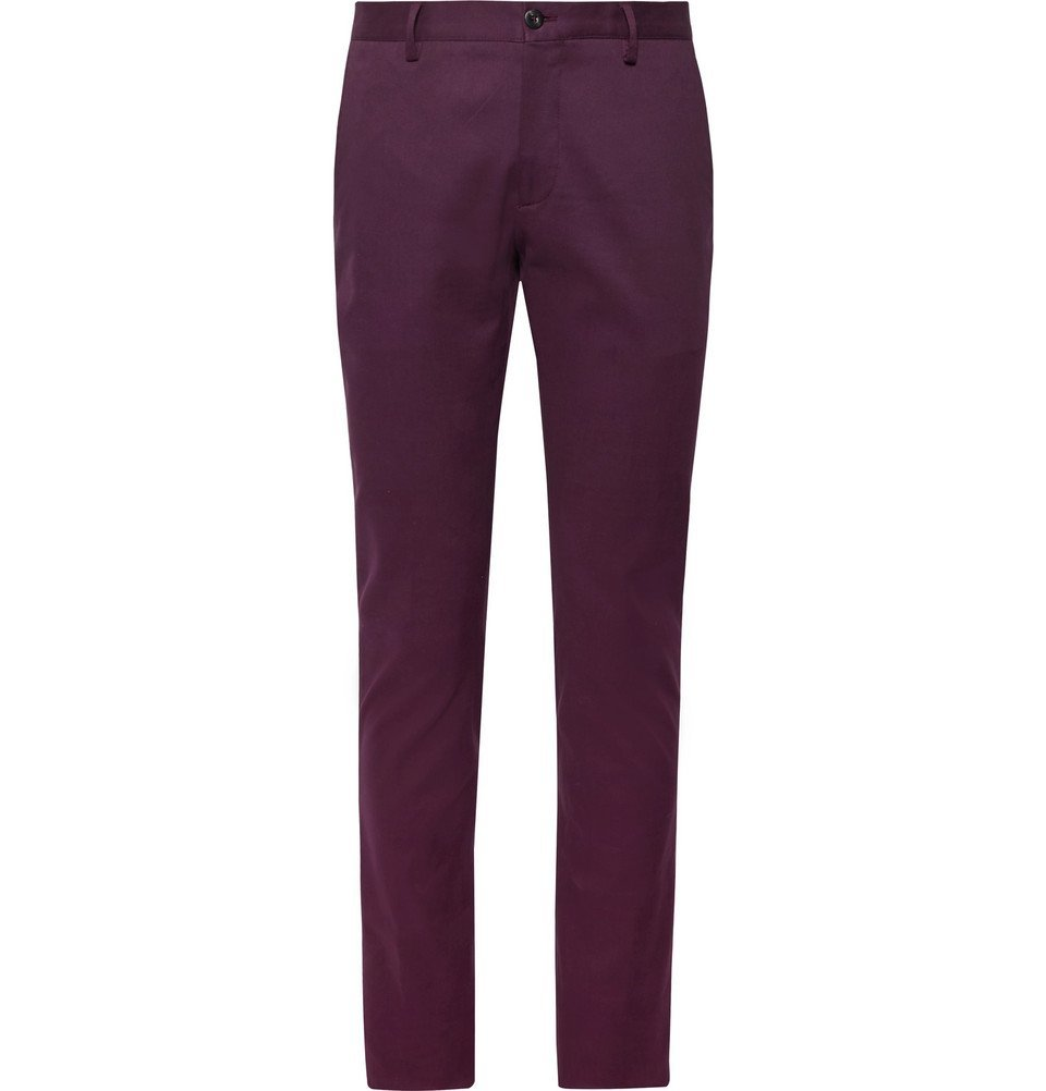 Photo: Etro - Slim-Fit Stretch-Cotton Twill Chinos - Grape