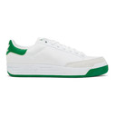adidas Originals White and Green Rod Laver Sneakers