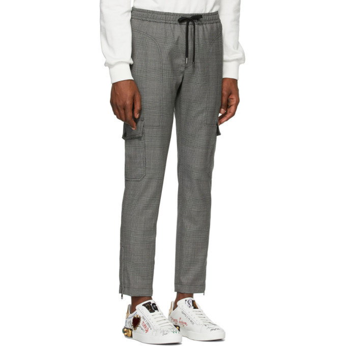 Dolce and Gabbana Grey Wool Prince Of Wales Cargo Pants
