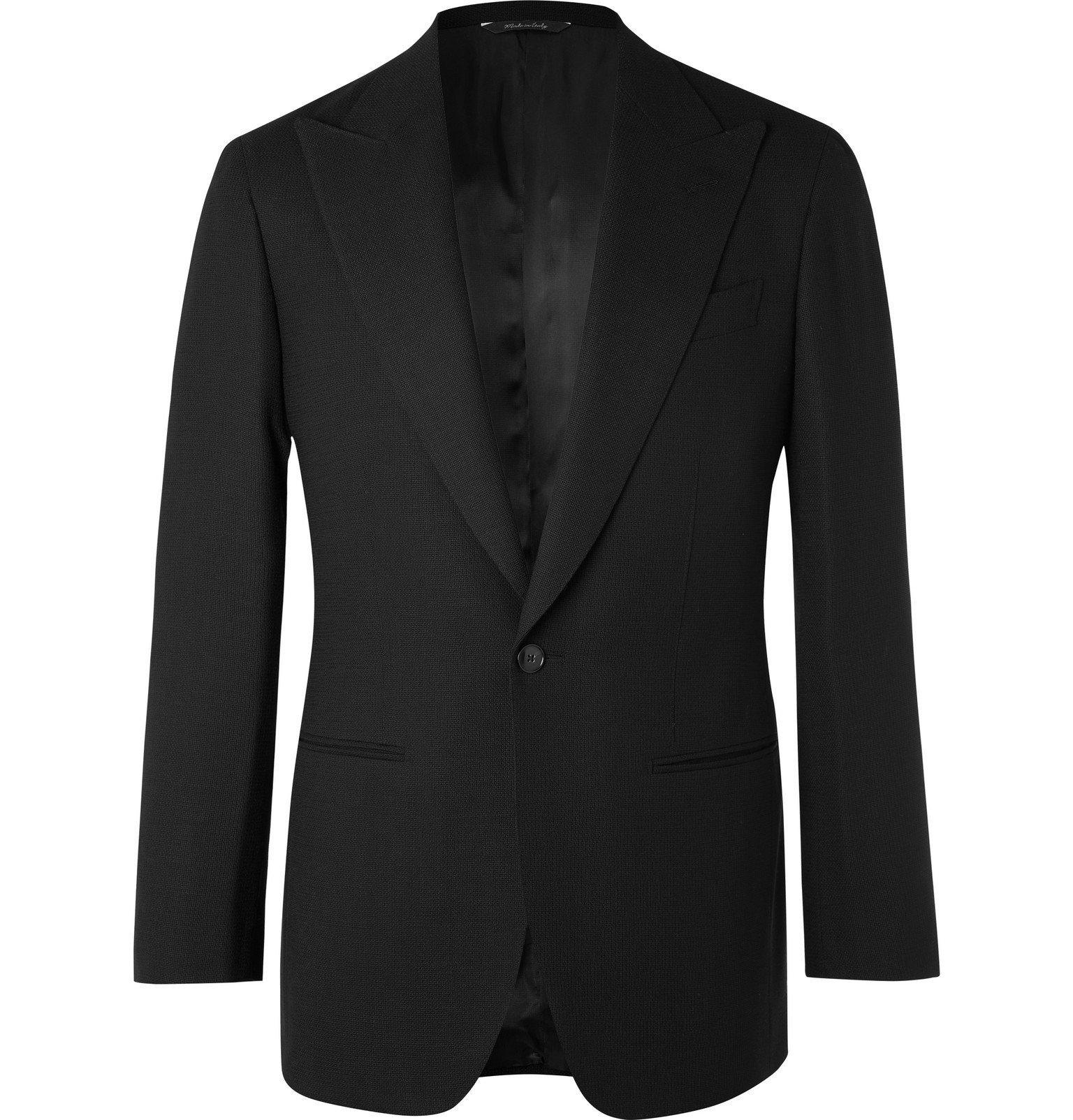 Saman Amel - Black Slim-Fit Wool-Hopsack Tuxedo Jacket - Black