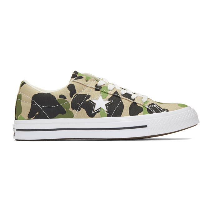 Photo: Converse Beige and Black One Star Archive Print Low Top Sneakers