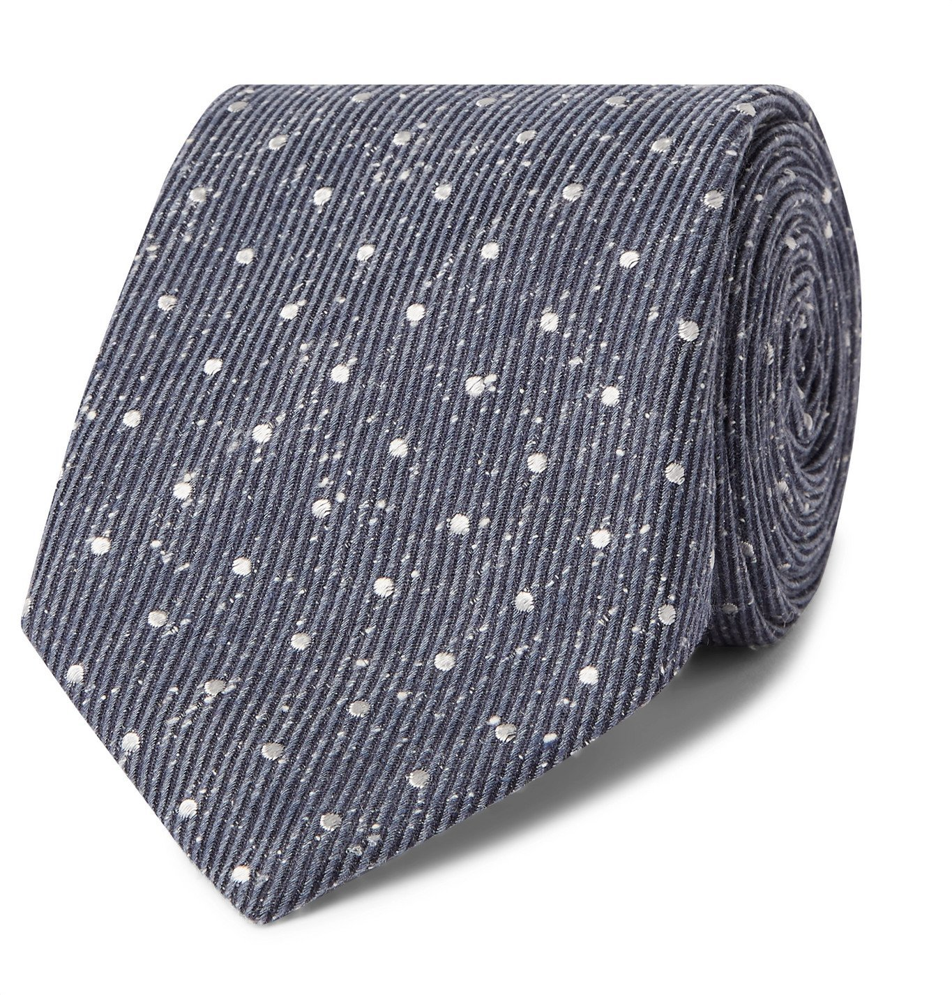 Photo: Canali - 8cm Polka-Dot Mélange Silk Tie - Blue