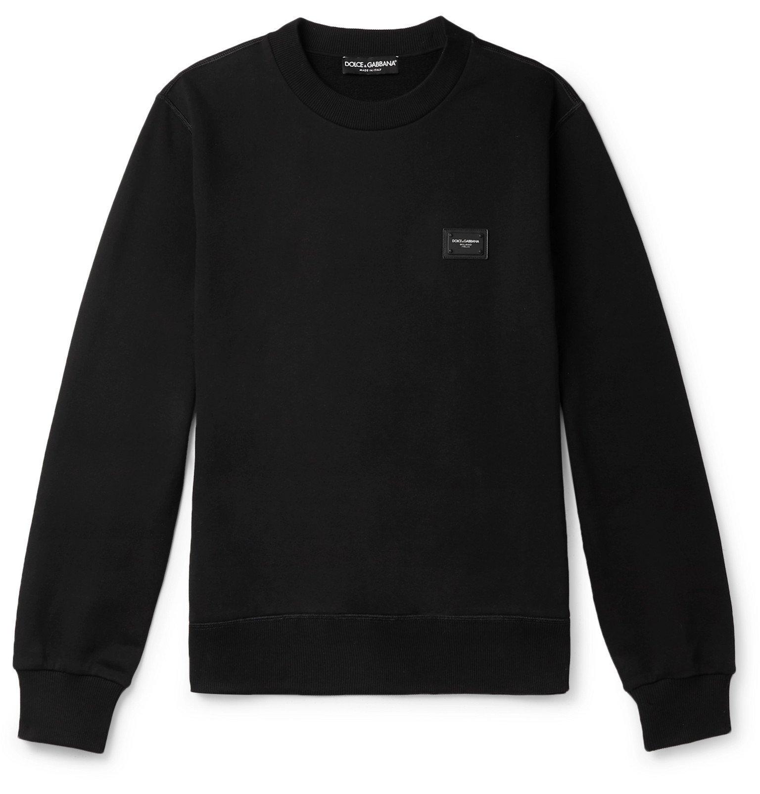 Photo: Dolce & Gabbana - Logo-Appliquéd Loopback Stretch-Cotton Jersey Sweatshirt - Black