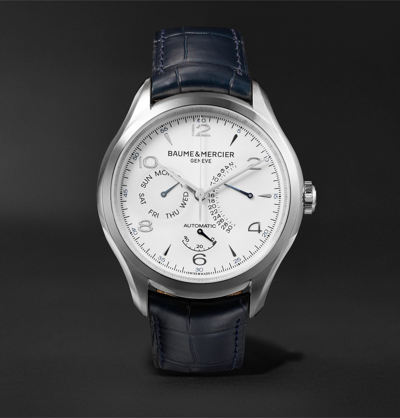 Photo: Baume & Mercier - Clifton Automatic Retrograde Power Reserve 43mm Stainless Steel and Alligator Watch, Ref. No. 10449 - White