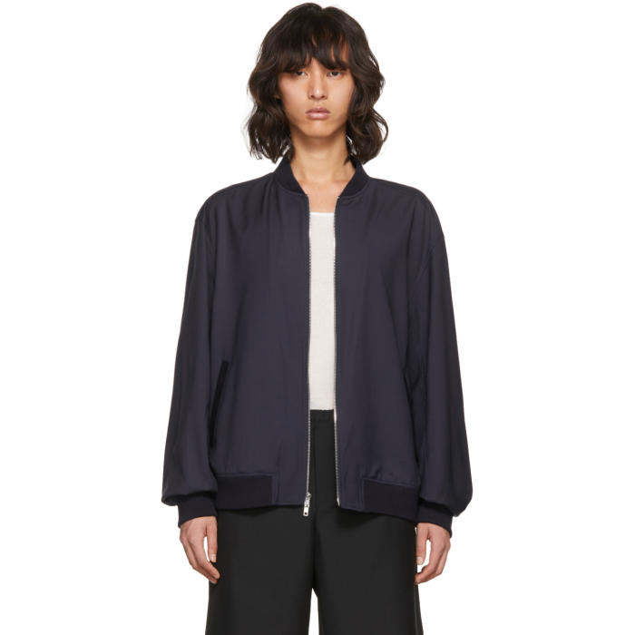 Photo: 3.1 Phillip Lim Blue Relaxed Wool Bomber Jacket