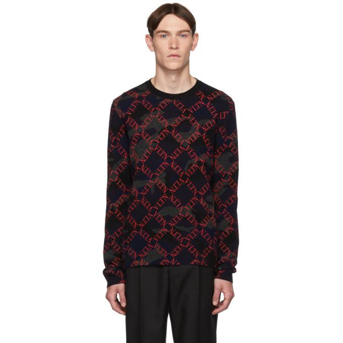 Photo: Valentino Black and Red Camo Logo Sweater