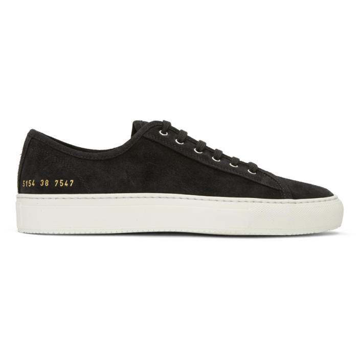 Common Projects Black Suede Tournament Low Sneakers