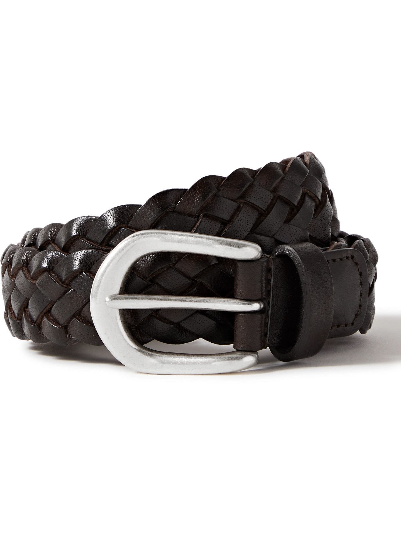 Photo: ANDERSON'S - 3.5cm Woven Leather Belt - Brown