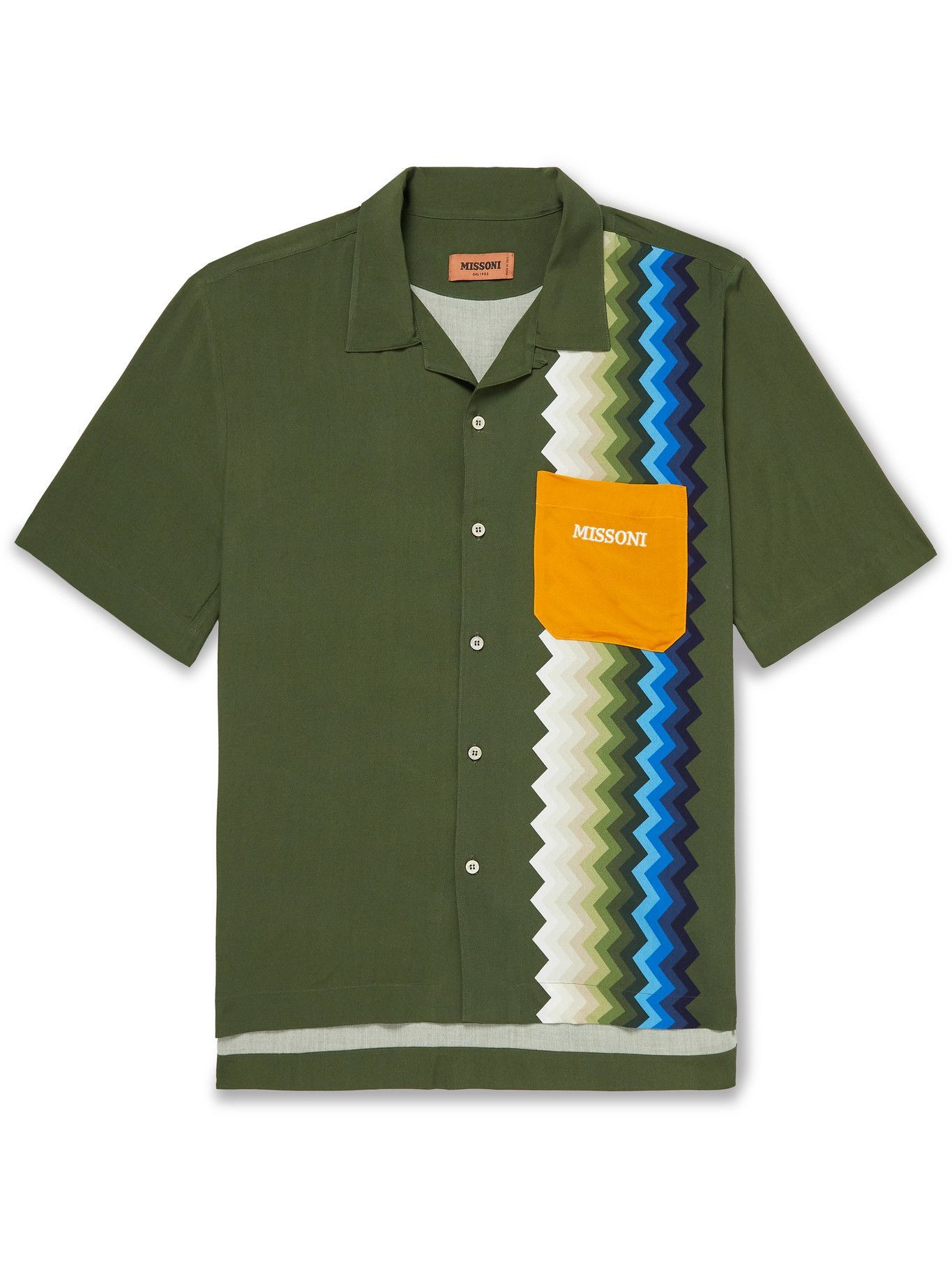 Photo: Missoni - Camp-Collar Logo-Embroidered Printed Woven Shirt - Green