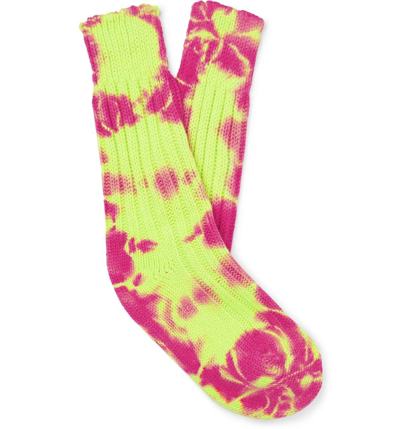Photo: The Elder Statesman - Yosemite Tie-Dyed Cashmere Socks - Yellow