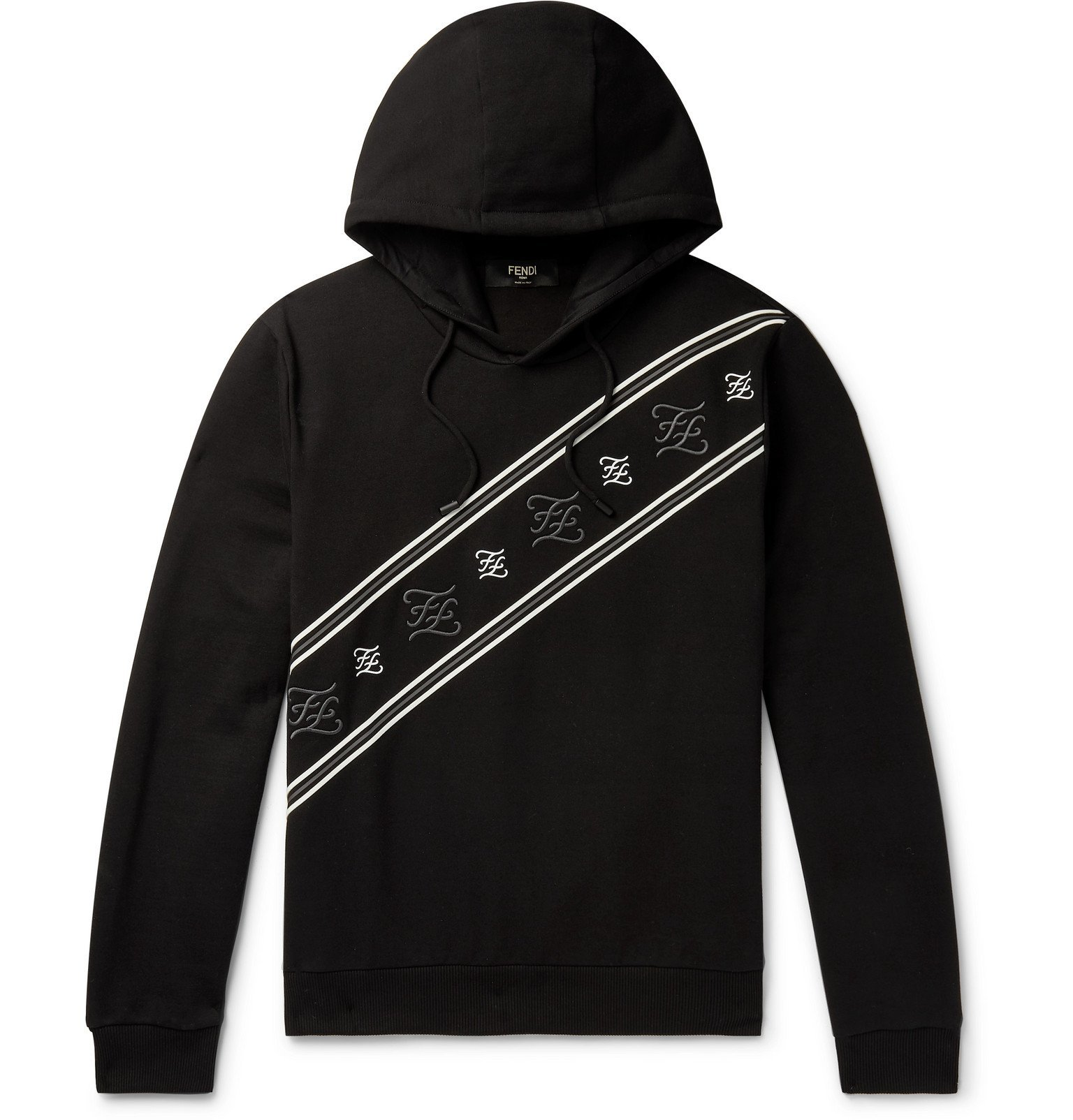 Photo: Fendi - Logo-Embroidered Fleece-Back Cotton-Jersey Hoodie - Black