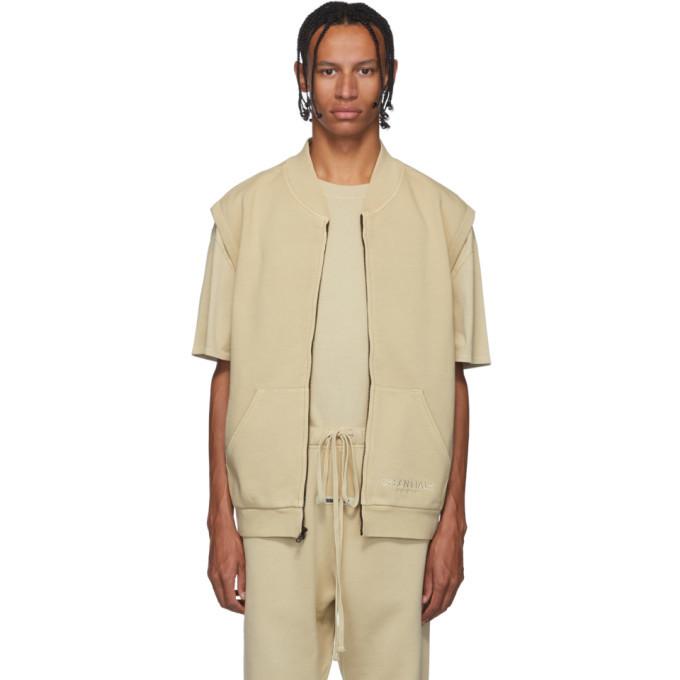 Photo: Essentials SSENSE Exclusive Beige Sleeveless Zip-Up Sweater